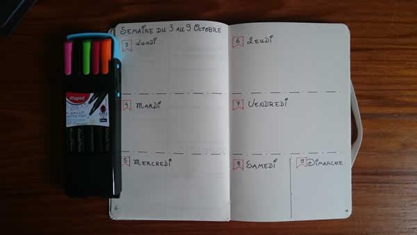 planning semaine dans le bullet journal