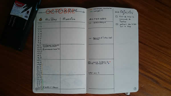 planning mois octobre bullet journal