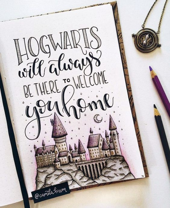 Nice Harry Poter Hogwarts quote, drawing for in bullet journal #bulletjournal #bujo #harrypotter