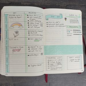 bulletjournal weekly tableaux trackers todolist